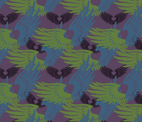 Heartwings II: Purple, Blue, Green fabric by penina on Spoonflower - custom fabric