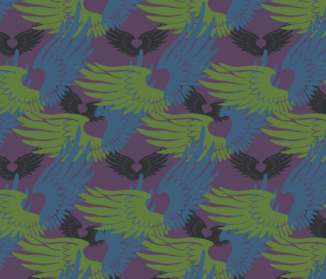 Heartwings II: Purple, Blue, Green2 fabric by penina on Spoonflower - custom fabric