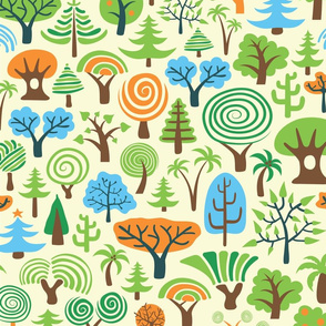 Assorted Colorful Trees-Hand Drawn Pattern