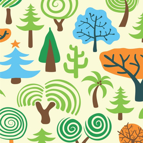 Assorted Colorful Trees-Hand Drawn Pattern Large Pattern