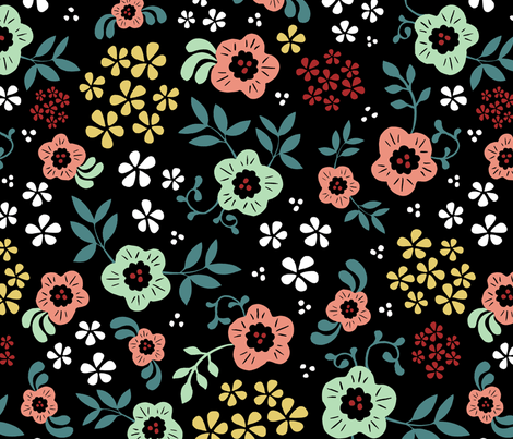 Eden - Black fabric by jiah on Spoonflower - custom fabric
