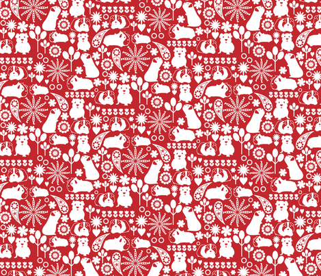 I love white on red guinea pigs fabric by ebygomm on Spoonflower - custom fabric