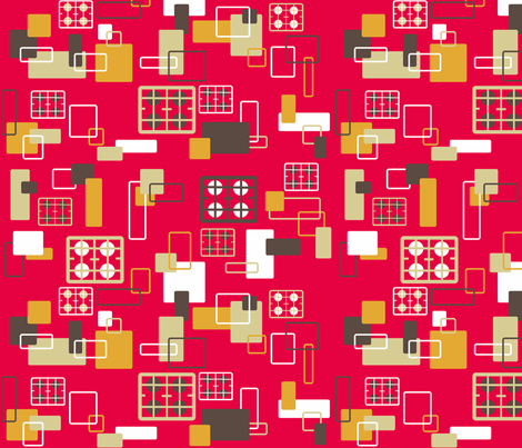 Hobs kitchen on pink or is it red? fabric by elizabethjones on Spoonflower - custom fabric