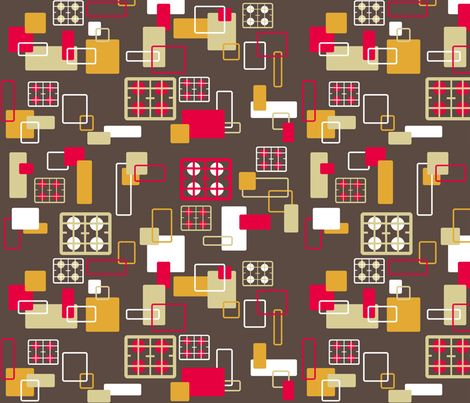 Hobs kitchen on brown fabric by elizabethjones on Spoonflower - custom fabric