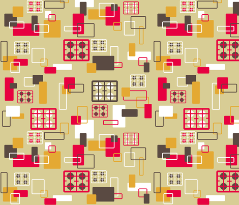 Hobs kitchen on beige fabric by elizabethjones on Spoonflower - custom fabric