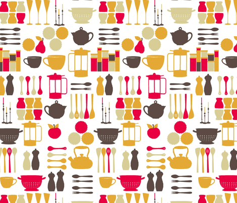 kitchen stuff fabric by lfntextiles on Spoonflower - custom fabric