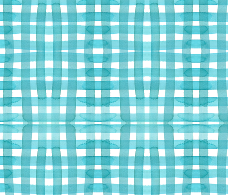 c'est la viv_aqua gingham fabric by cest_la_viv on Spoonflower - custom fabric