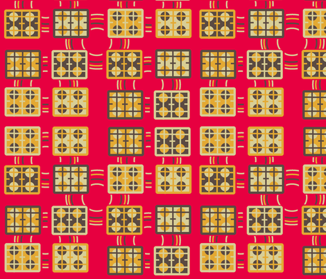 Hob tiles retro kitchen fabric by elizabethjones on Spoonflower - custom fabric