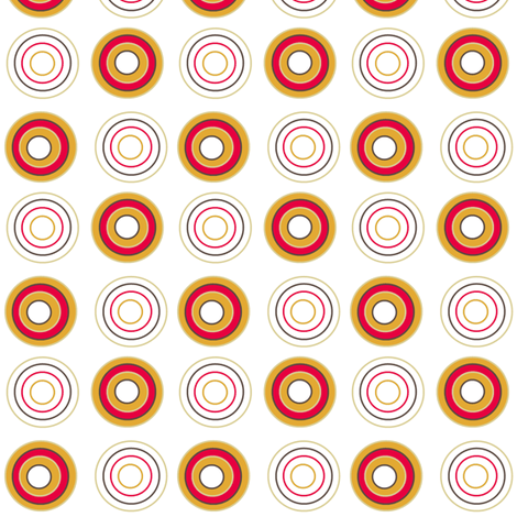 Retro circles on white fabric by squeakyangel on Spoonflower - custom fabric