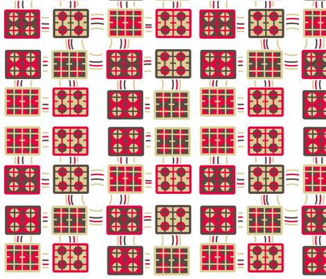Retro kitchen tiles 4colours fabric by elizabethjones on Spoonflower - custom fabric