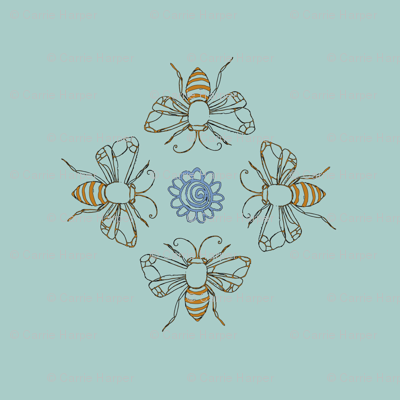 bees on a green background