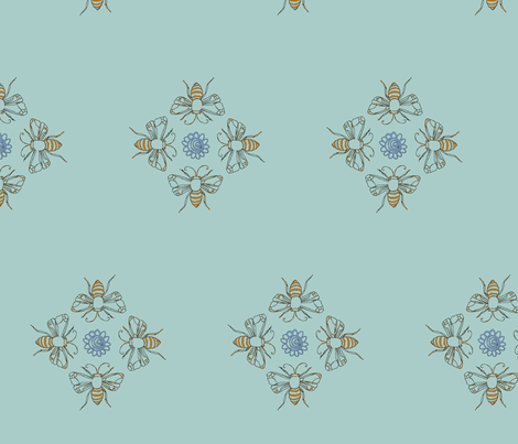 bees on a green background fabric by carrie_harper on Spoonflower - custom fabric