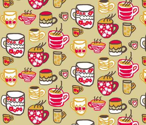 Warm Mugs fabric by lesliebedell on Spoonflower - custom fabric