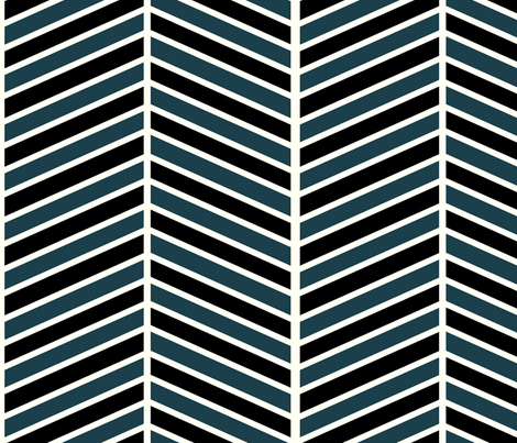 Teal and Black Chevron fabric by mgterry on Spoonflower - custom fabric
