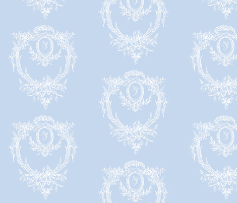 Rococo Rose Frame in Pale Blueberry Blue fabric by lilyoake on Spoonflower - custom fabric