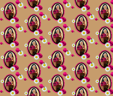 Saint Therese A Little Flower fabric by magneticcatholic on Spoonflower - custom fabric