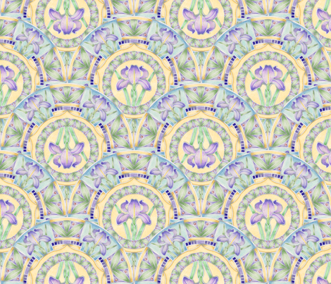 Iris Nouveau 2 way by Patricia Shea fabric by patricia_shea on Spoonflower - custom fabric