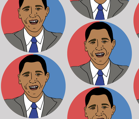 President Barack Obama, POTUS fabric by illustratedbyjenny on Spoonflower - custom fabric