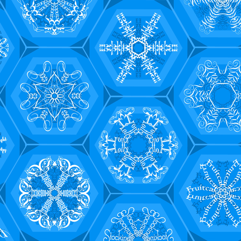 blue snowflake mini-ornaments fabric by weavingmajor on Spoonflower - custom fabric