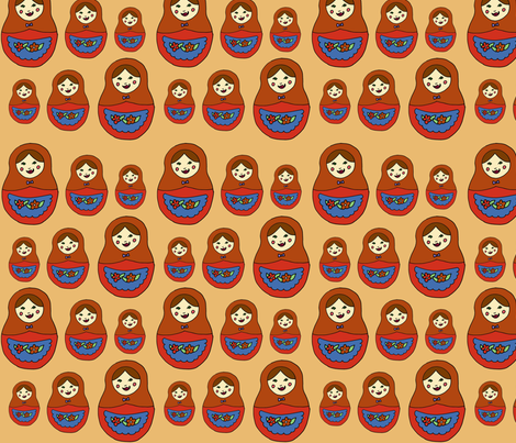 matroyshka, peach fabric by illustratedbyjenny on Spoonflower - custom fabric