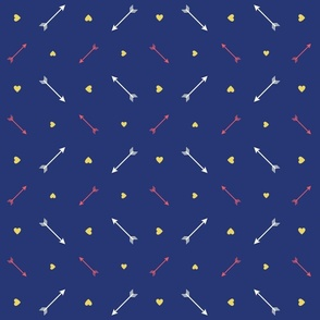 Small Arrows and Hearts on Navy