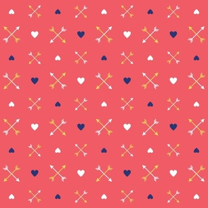 Arrows and Hearts on Salmon