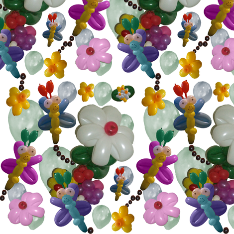Balloon Flowers and Butterflies fabric by upcyclepatch on Spoonflower - custom fabric