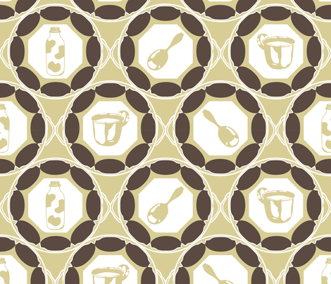 1920s Retro Kitchen Wallpaper (brown on beige)  fabric by majobv on Spoonflower - custom fabric