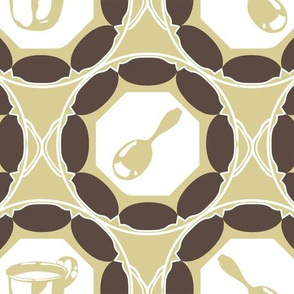 1920s Retro Kitchen Wallpaper (brown on beige)