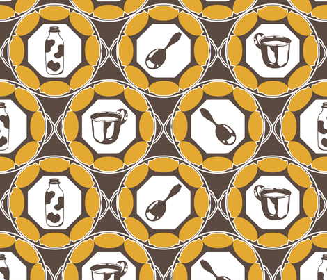 1920s Retro Kitchen Wallpaper (orange on brown)  fabric by majobv on Spoonflower - custom fabric