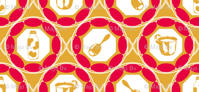 1920s Retro Kitchen Wallpaper (red on orange)