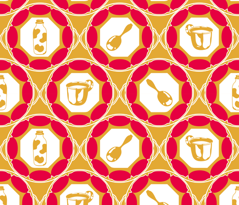 1920s Retro Kitchen Wallpaper (red on orange)  fabric by majobv on Spoonflower - custom fabric
