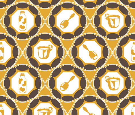1920s Retro Kitchen Wallpaper (brown on orange)  fabric by majobv on Spoonflower - custom fabric