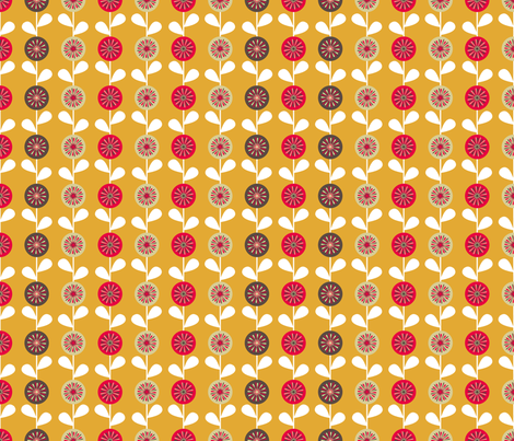 Retro flowers fabric by alexsan on Spoonflower - custom fabric