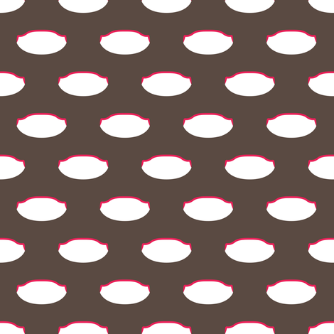 1920s Retro Kitchen Weird Pois (red/white on brown)