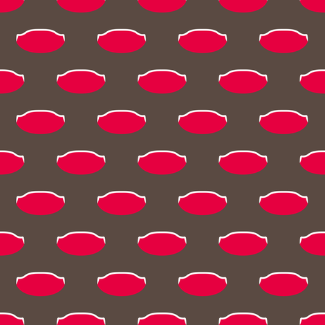 1920s Retro Kitchen Weird Pois (red/white on brown) fabric by majobv on Spoonflower - custom fabric