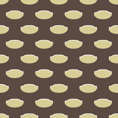 1920s Retro Kitchen Weird Pois (beige/white on brown) fabric by majobv on Spoonflower - custom fabric