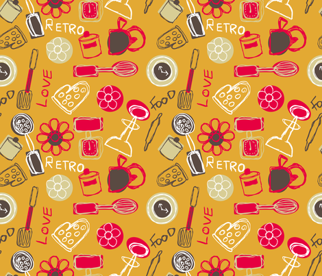retro kitchen fabric by jlwillustration on Spoonflower - custom fabric