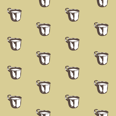 1920s Retro Kitchen Baby Cup (beige on brown) fabric by majobv on Spoonflower - custom fabric