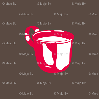 1920s Retro Kitchen Baby Cup (red on brown)