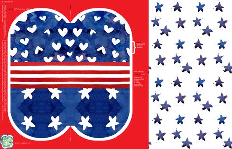 viv_RedWhiteBlue Beanie fabric by cest_la_viv on Spoonflower - custom fabric
