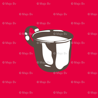 1920s Retro Kitchen Baby Cup (brown on red)