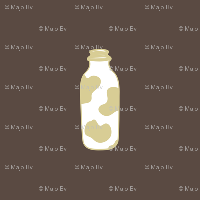 1920s Retro Kitchen Milk Bottle (beige on brown)