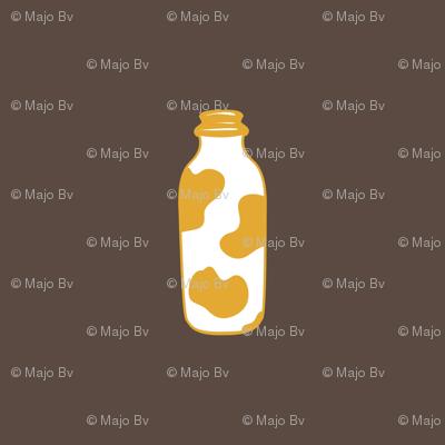 1920s Retro Kitchen Milk Bottle (orange on brown)
