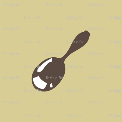 1920s Retro Kitchen Baby Spoon (brown on beige)