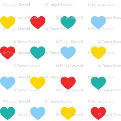 Multicoloured hearts