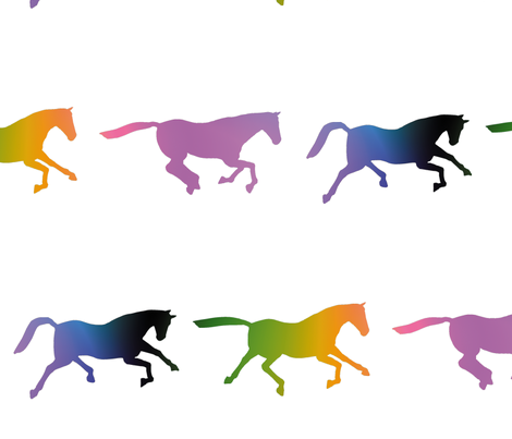 Galloping Rainbow Horses, L fabric by animotaxis on Spoonflower - custom fabric