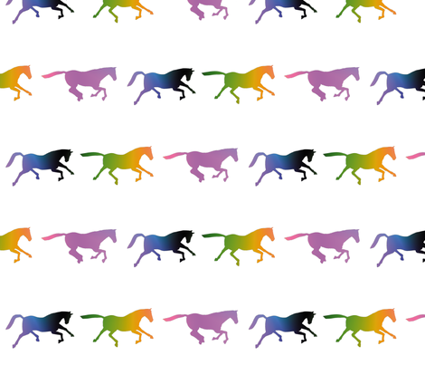 Galloping Rainbow Horses, M fabric by animotaxis on Spoonflower - custom fabric