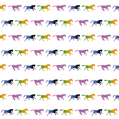 Galloping Rainbow Horses, S fabric by animotaxis on Spoonflower - custom fabric