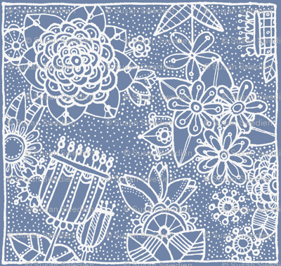 floral square blue white